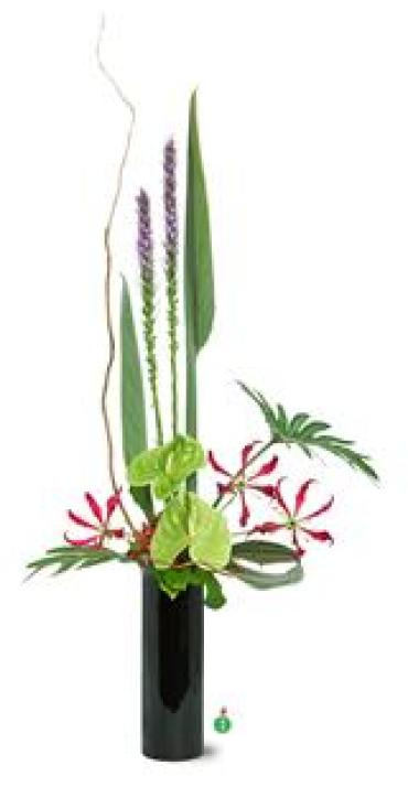 Liatris, Green Anthurium & Orchids