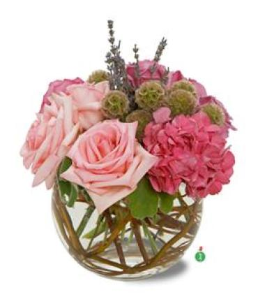 Bubble Bowl of Pink Roses
